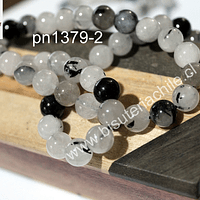 Cuarzo turmalinado liso negro de 8 mm, set de 23 piedras
