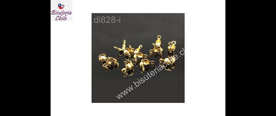 Tapa nudo, Tapanudo acero inoxidable dorado, 7,4 x 4 mm, set de 10 unidades (5 pares)