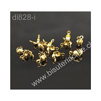 Tapanudo acero inoxidable dorado, 7,4 x 4 mm, set de 10 unidades (5 pares)