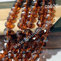 Cristal redondo de 8 mm, color café,, tira de 38 cristales aprox