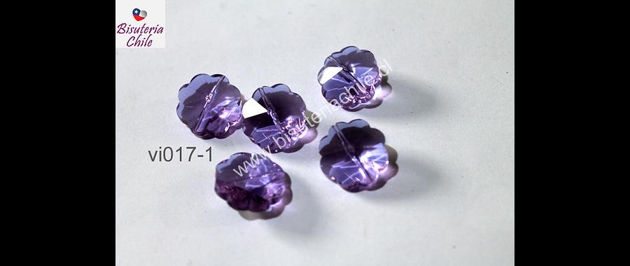VIdrio lila en forma de flor, 20 mm de diámetro, set de 5 unidades