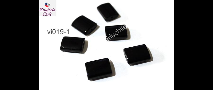 vidrio color negro, 17 x 15 mm, 6 mm de ancho, agujero de 1,5 mm, set de 6 unidades