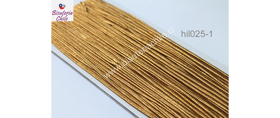 Cordón Soutache color dorado, 3 mm, rollo de 30 mts.