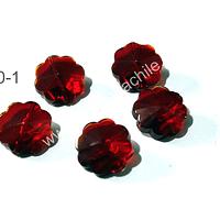 VIdrio rojo en forma de flor, 20 mm de diámetro, set de 5 unidades