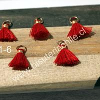 Borla mini color rojo con argolla dorada, 13 mm de largo, set de 5 unidades