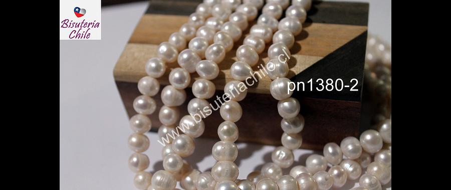 Perla de río de 8 mm, tira de 46 perlas aprox.