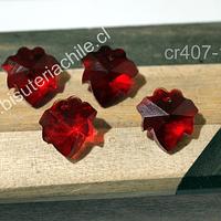 Cristal en forma de hoja color rojo, 15 x 17 mm, set de 4 unidades (no incluye valier)
