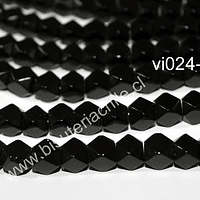 Vidrio hexagonal, en color negro, 8 x 8 mm, tira de 40 vidrios