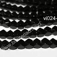 Vidrio hexagonal, en color negro, 8 x 8 mm, tira de 40 vidrios