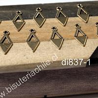 Dije dorado, 18 mm de largo x 8 mm de ancho, set de 10 unidades