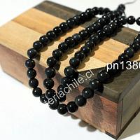 Obsidiana negra de 6 mm, tira de 68 piedras