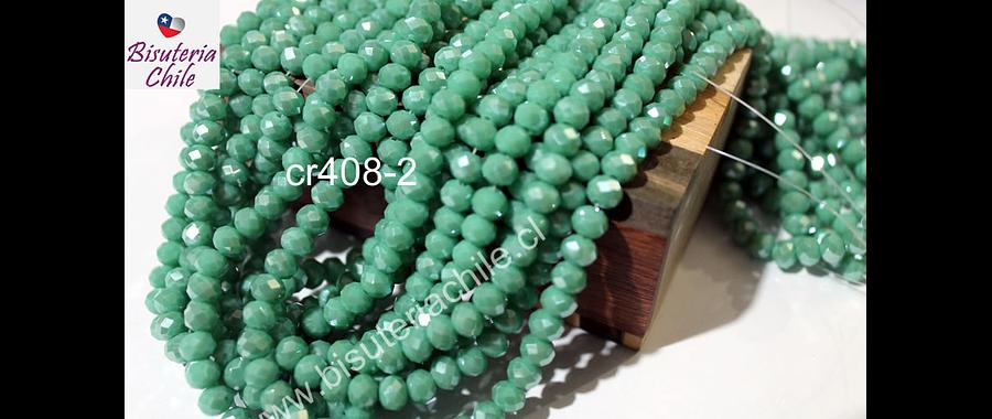 Cristal jade verdoso con brillos plateados,  de 6 mm, tira de 98 unidades
