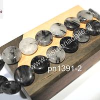 Cuaro turmalinado negro, forma de moneda, 15 mm de doámetro x 5 mm de ancho, set de 10 unidades