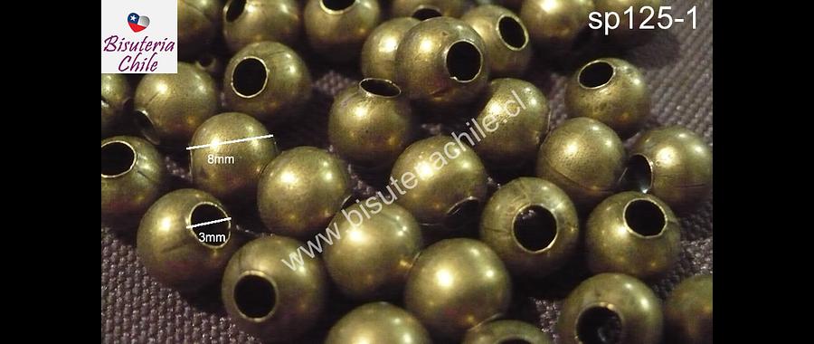 Separador bola envejecido, 8 mm agujero de 3 mm, set de 18 grs.