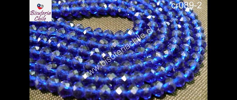 Cristal azul 6 mm por 5 mm, tira de 100 unidades