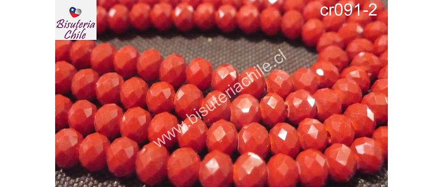 Cristal rojo 6 mm por 5 mm, tira de 92 unidades