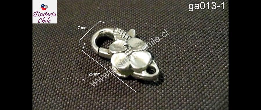 Gancho mosqueton con flor plateado, 25 mm de largo por 17 mm de ancho