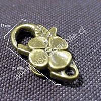 Gancho mosqueton con flor envejecido, 25 mm de largo por 17 mm de ancho