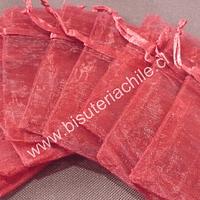 Bolsa de organza rojo, 7 x 9 , set de 10 unidades