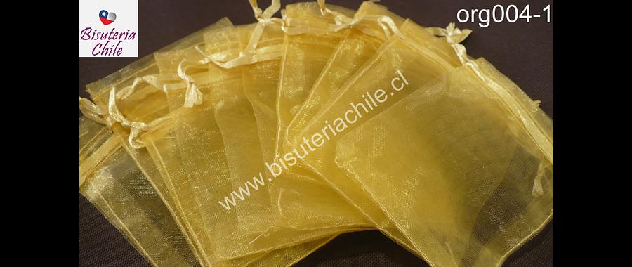 Bolsa de organza amarillo dorado, 7 x 9 , set de 10 unidades