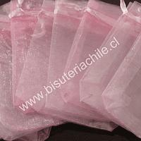 Bolsa de organza rosado, 7 x 9 , set de 10 unidades