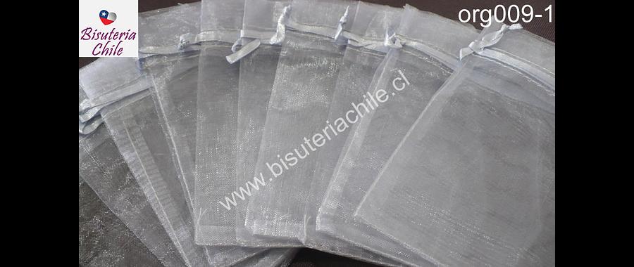 Bolsa de organza gris, 7 x 9 , set de 10 unidades