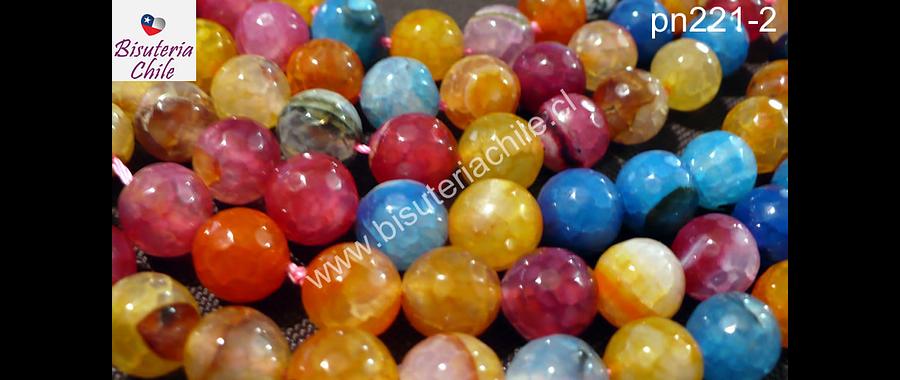 Agata de 14 mm multicolor, amarillo, celeste naranjo y rosado, tira de 13 piedras aprox.