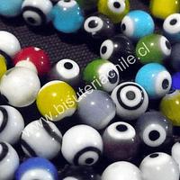 Ojo turco multicolor de 8 mm, tira de 48 unidaes aprox