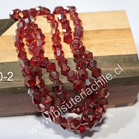 Cristal tupi 6 mm rojo tornasol, tira de 50 cristales aprox.