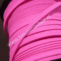 Gamuza gruesa color rosado, 5 mm de ancho, por metro