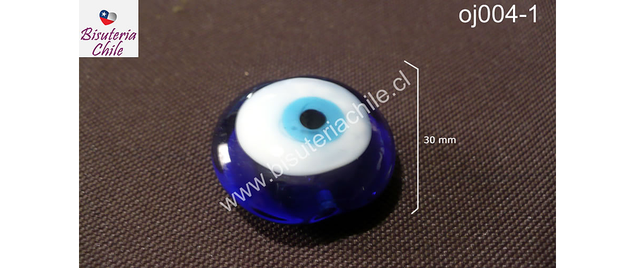 Ojo turco azul, 30 mm de diámetro, agujero de 2,5 mm c/u