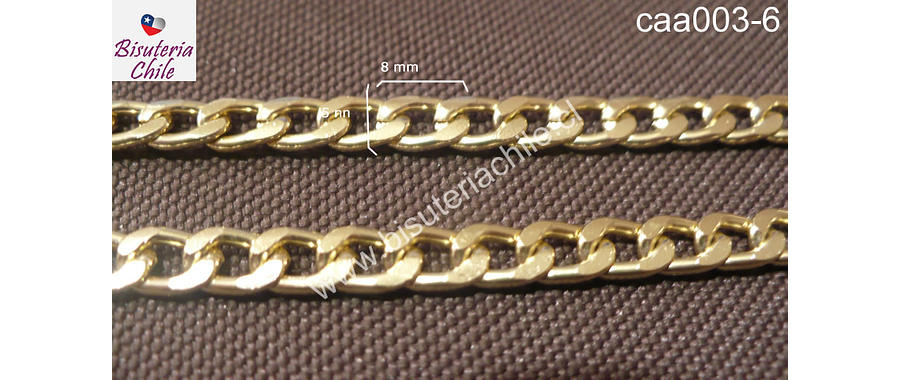 Cadena aluminio dorada, eslabon de 8 mm de largo por 5 mm de ancho, por metro
