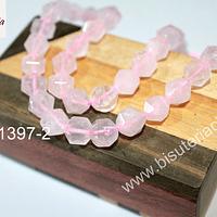 Cuarzo rosado hexagonal, 10 mm, tira de 17 piedras