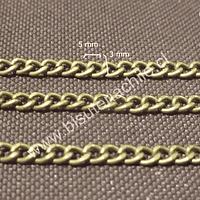 Cadenas, cadena envejecida, eslabón de 4 mm por 3  mm, por metro