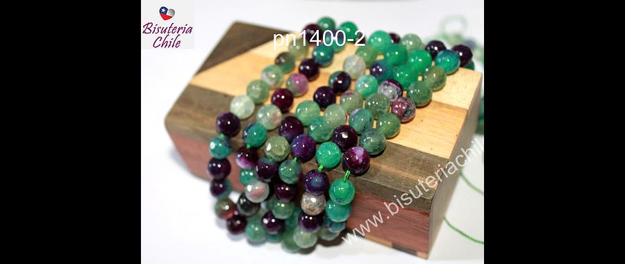 Agata de 8 mm, en colores verdes y morados, tira de 46 piedras aprox.