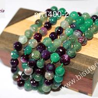 Agatas, Agata de 8 mm, en colores verdes y morados, tira de 46 piedras aprox.
