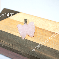Dije cuarzo rosado en forma de mariposa, 18 mm de largo x 22 mm de ancho, por unidad