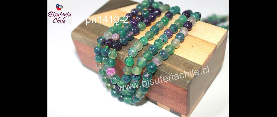 Agatas, Agata de 6 mm, en tonos verdes y morados, tira de 63 piedras aprox