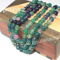 Agata de 6 mm, en tonos verdes y morados, tira de 63 piedras aprox