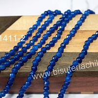 Agata facetada de 4 mm, en tono azul profundo, tira de 88 piedras aprox
