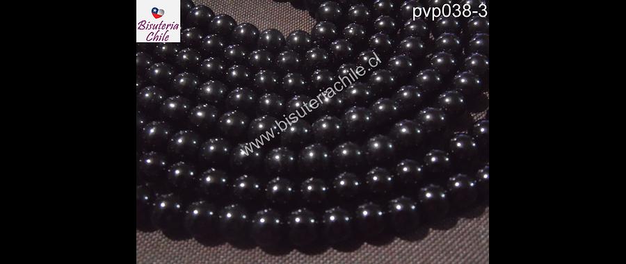 Perla de vidrio color negro 8 mm, tira de 100unidades aprox