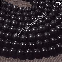Perla de vidrio color negro 8 mm, tira de 53unidades aprox