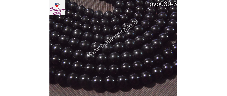 Perla de vidrio color negro, 6mm,  tira de 140 unidades aprox