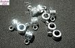 Separador plateado con argolla para colgar dije, 5 mm de alto por 7 mm de ancho, agujero de 4 mm, set de 10 unidades