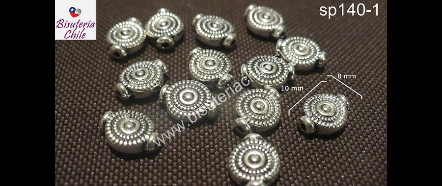 Separador plateado, 10 mm de largo por 8 mm de ancho, agujero de 1 mm , set de 10 unidades