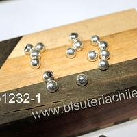 Tope de gamuza plateado, 6 x 5 mm, agujero de 3 mm, set de 21 unidades