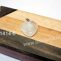 Dije corazón cuarzo cristal, 20 mm de largo por 20 mm de ancho, con valier, venta por unidad