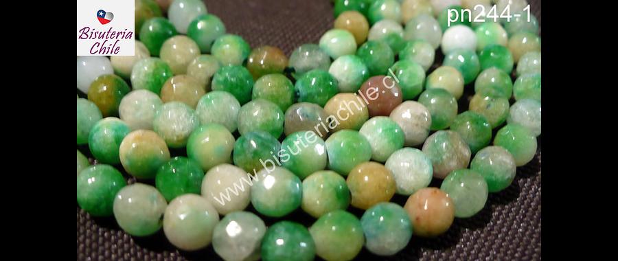 Agata 6 mm en tonos verdes tira de 60 a 63 piedras