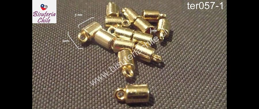 Terminal dorado 5 mm de largo por 4 de ancho, agujero de 3 mm, tira de 14 unidades