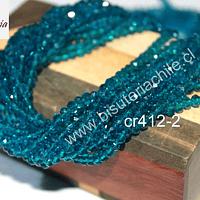Cristal chino facetado de 4 mm color calipso oscuro, tira de 150 unidades aprox